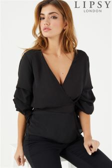 Lipsy Pintuck Sleeve Wrap Blouse