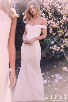 Lipsy Bridal Lace Bardot Maxi Dress