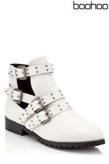 Boohoo Studded Buckle Ankle Boots