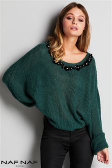 Naf Naf Embellished Collar Jumper