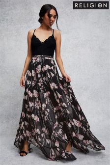 Religion Floral Maxi Skirt