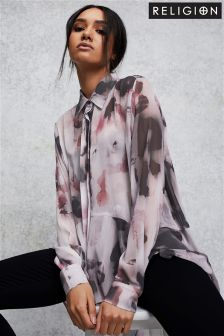 Religion Print Fluted Hem Shirt
