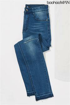 Boohoo Man Skinny Fit Jeans With Distressed Knee And Hem