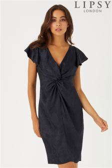 Lipsy Jacquard Tie Knot Front Bodycon Dress