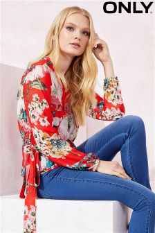Only Floral Print Wrap Blouse