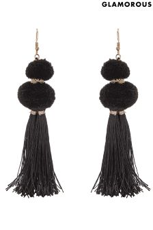 Glamorous Pom & Tassel Statement Earrings