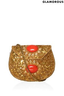 Glamorous Embellished Metal Cross Body Bag