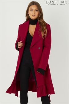 Lost Ink Skirted Frill Hem Coat