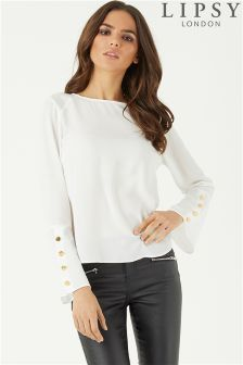Lipsy Button Detail Flute Sleeve Blouse