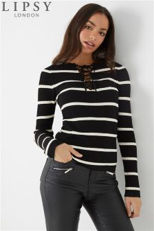 Lipsy Stripe Lace Up Jumper