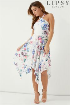 Lipsy Imogen Print Asymmetric Hem Skater Dress