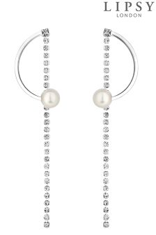 Lipsy Pearl And Crystal Half Hoop Earrings