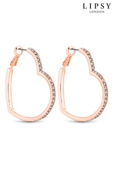 Lipsy Crystal Heart Hoop Earrings