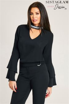 Jessica Wright Fluted Long Sleeve Choker Blouse