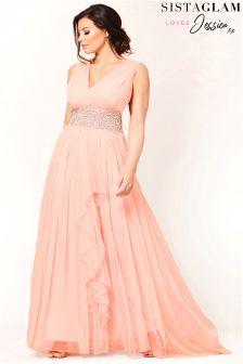 Jessica Wright V neck Mesh Maxi Dress