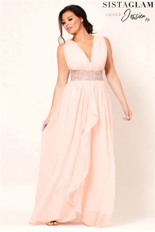 Jessica Wright V neck Chiffon Maxi Bridesmaid Dress