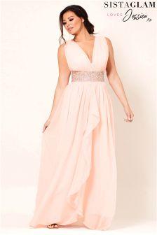 Sistaglam Loves Jessica V Neck Chiffon Bridesmaid Maxi Dress