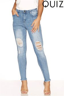 Quiz Stretch Knee Rip Jeans