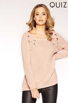 Quiz Knitted Eyelet And Lace Up Long Sleeve Jumper
