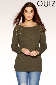 Quiz Knitted Eyelet Lace Up Jumper