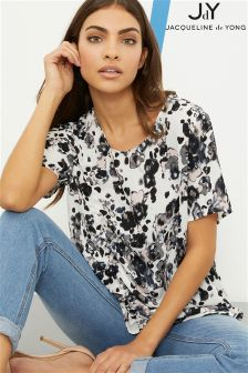 JDY Floral Top With Rush Tie Detail