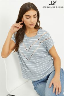 JDY Short Sleeve Lace Detail Top