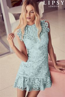 Lipsy Lace Cap Sleeve Ruffle Shift Dress