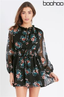 Boohoo High Neck Floral Skater Dress