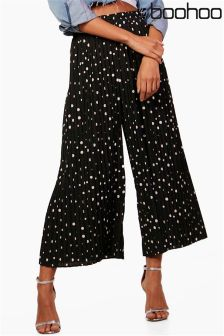 Boohoo Polka Dot Pleated Culottes