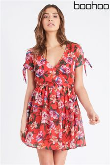 Boohoo Core Wrap Front Tie Sleeve Dress