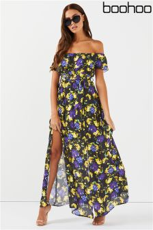 Boohoo Shirred Waist Bardot Maxi Dress