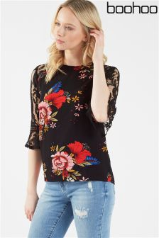 Boohoo Lace Sleeve Floral Print Blouse