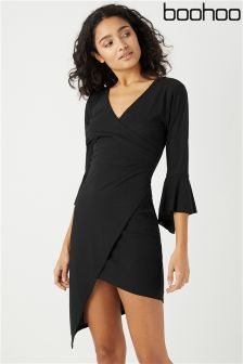 Boohoo Frill Sleeve Asymmetric Wrap Dress
