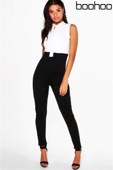 Boohoo Core Tie Neck Tailored Jumpsuit