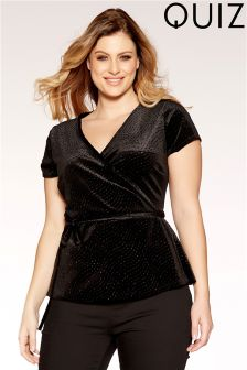 Quiz Curve Velvet Wrap Tie Side Top