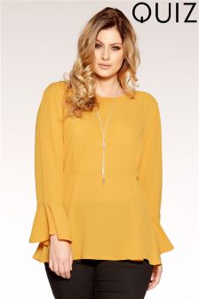 Quiz Curve Necklace Frill Sleeve Peplum Top