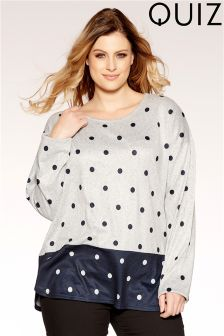 Quiz Curve Polka Dot Knit Top