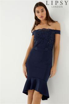Lipsy Loves Kate Sequin Embroidered Flute Hem Dress