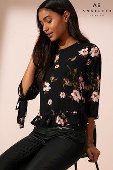 Angeleye Floral Print Long Sleeve Top