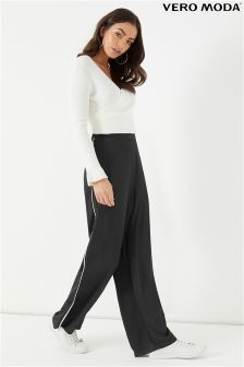 Vero Moda Wide Leg Trousers With Piping Detail