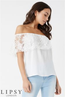 Lipsy Loves Kate Lace Bardot Top