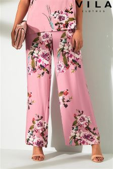 Vila Floral Print High Waisted Trousers