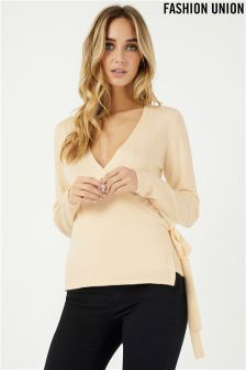 Fashion Union Wrap Front Jumper