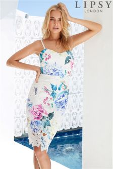 Lipsy Georgina Print Lace Cami Dress
