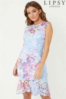 Lipsy Printed Lace Flippy Hem Bodycon Dress