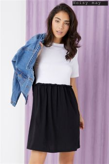 Noisy May Bon Marche Short Sleeve 2 in 1 Contrast Dress