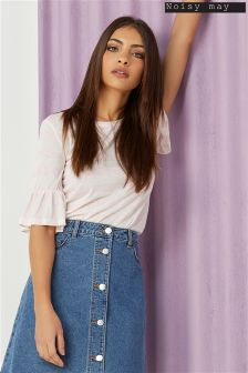 Noisy May Stripe Frill Top