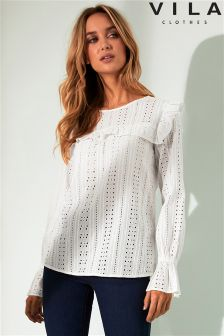 Vila Long Sleeve Cotton Frill Top