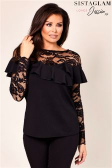 Jessica Wright Lace Ruffle Frill Top
