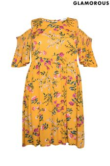 Glamorous Curve Cold Shoulder Floral Smock Dress